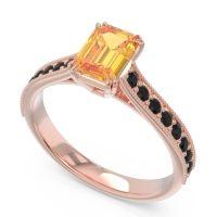 Pave Milgrain Emerald Cut Druna Citrine Ring with Black Onyx in 14K Rose Gold