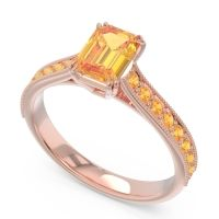 Pave Milgrain Emerald Cut Druna Citrine Ring in 18K Rose Gold