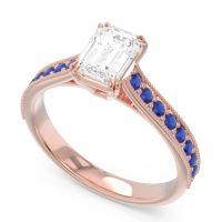 Pave Milgrain Emerald Cut Druna Diamond Ring with Blue Sapphire in 18K Rose Gold