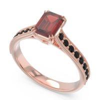 Pave Milgrain Emerald Cut Druna Garnet Ring with Black Onyx in 14K Rose Gold