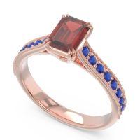 Pave Milgrain Emerald Cut Druna Garnet Ring with Blue Sapphire in 18K Rose Gold