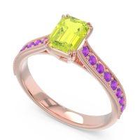 Pave Milgrain Emerald Cut Druna Peridot Ring with Amethyst in 18K Rose Gold