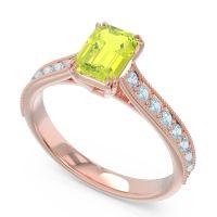 Pave Milgrain Emerald Cut Druna Peridot Ring with Aquamarine in 14K Rose Gold