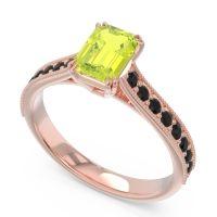 Pave Milgrain Emerald Cut Druna Peridot Ring with Black Onyx in 18K Rose Gold
