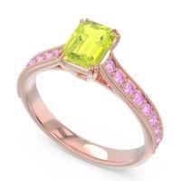 Pave Milgrain Emerald Cut Druna Peridot Ring with Pink Tourmaline in 14K Rose Gold