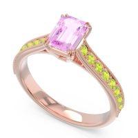 Pave Milgrain Emerald Cut Druna Pink Tourmaline Ring with Peridot in 14K Rose Gold