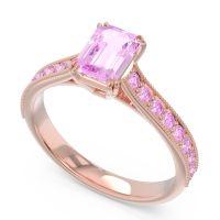 Pave Milgrain Emerald Cut Druna Pink Tourmaline Ring in 14K Rose Gold
