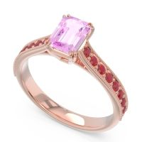 Pave Milgrain Emerald Cut Druna Pink Tourmaline Ring with Ruby in 18K Rose Gold