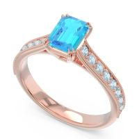 Pave Milgrain Emerald Cut Druna Swiss Blue Topaz Ring with Aquamarine in 18K Rose Gold