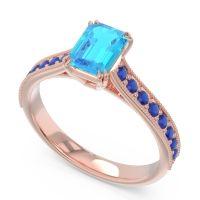 Pave Milgrain Emerald Cut Druna Swiss Blue Topaz Ring with Blue Sapphire in 18K Rose Gold