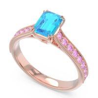 Pave Milgrain Emerald Cut Druna Swiss Blue Topaz Ring with Pink Tourmaline in 18K Rose Gold
