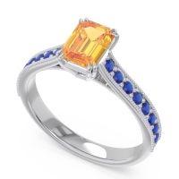 Pave Milgrain Emerald Cut Druna Citrine Ring with Blue Sapphire in 14k White Gold