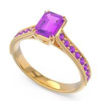 Pave Milgrain Emerald Cut Druna Amethyst Ring in 18k Yellow Gold