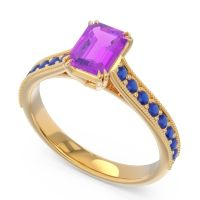Pave Milgrain Emerald Cut Druna Amethyst Ring with Blue Sapphire in 18k Yellow Gold