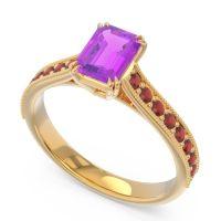 Pave Milgrain Emerald Cut Druna Amethyst Ring with Garnet in 18k Yellow Gold