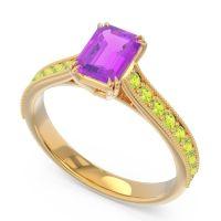 Pave Milgrain Emerald Cut Druna Amethyst Ring with Peridot in 14k Yellow Gold