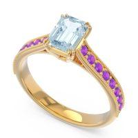 Pave Milgrain Emerald Cut Druna Aquamarine Ring with Amethyst in 14k Yellow Gold