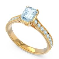 Pave Milgrain Emerald Cut Druna Aquamarine Ring in 18k Yellow Gold