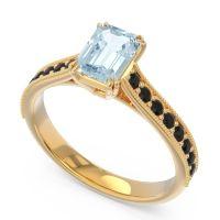 Pave Milgrain Emerald Cut Druna Aquamarine Ring with Black Onyx in 18k Yellow Gold