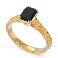 Pave Milgrain Emerald Cut Druna Black Onyx Ring with Citrine in 14k Yellow Gold
