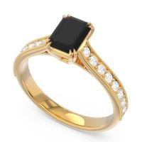 Pave Milgrain Emerald Cut Druna Black Onyx Ring with Diamond in 14k Yellow Gold
