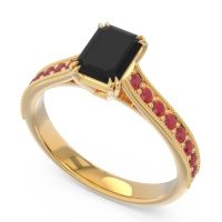 Pave Milgrain Emerald Cut Druna Black Onyx Ring with Ruby in 14k Yellow Gold