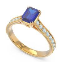 Pave Milgrain Emerald Cut Druna Blue Sapphire Ring with Aquamarine in 14k Yellow Gold