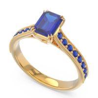 Pave Milgrain Emerald Cut Druna Blue Sapphire Ring in 18k Yellow Gold