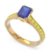 Pave Milgrain Emerald Cut Druna Blue Sapphire Ring with Peridot in 18k Yellow Gold
