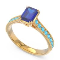 Pave Milgrain Emerald Cut Druna Blue Sapphire Ring with Swiss Blue Topaz in 18k Yellow Gold