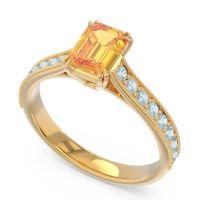 Pave Milgrain Emerald Cut Druna Citrine Ring with Aquamarine in 18k Yellow Gold