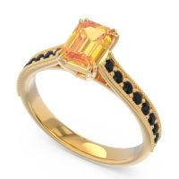 Pave Milgrain Emerald Cut Druna Citrine Ring with Black Onyx in 18k Yellow Gold