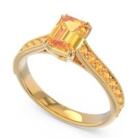Pave Milgrain Emerald Cut Druna Citrine Ring in 14k Yellow Gold