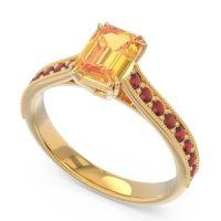Pave Milgrain Emerald Cut Druna Citrine Ring with Garnet in 14k Yellow Gold