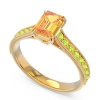 Pave Milgrain Emerald Cut Druna Citrine Ring with Peridot in 18k Yellow Gold