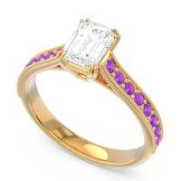 Pave Milgrain Emerald Cut Druna Diamond Ring with Amethyst in 14k Yellow Gold