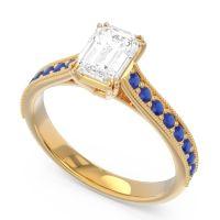 Pave Milgrain Emerald Cut Druna Diamond Ring with Blue Sapphire in 18k Yellow Gold