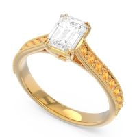 Pave Milgrain Emerald Cut Druna Diamond Ring with Citrine in 18k Yellow Gold