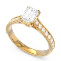 Pave Milgrain Emerald Cut Druna Diamond Ring in 18k Yellow Gold