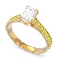 Pave Milgrain Emerald Cut Druna Diamond Ring with Peridot in 18k Yellow Gold