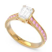 Pave Milgrain Emerald Cut Druna Diamond Ring with Pink Tourmaline in 14k Yellow Gold
