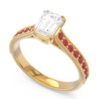 Pave Milgrain Emerald Cut Druna Diamond Ring with Ruby in 18k Yellow Gold