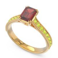 Pave Milgrain Emerald Cut Druna Garnet Ring with Peridot in 18k Yellow Gold