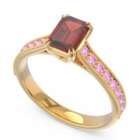 Pave Milgrain Emerald Cut Druna Garnet Ring with Pink Tourmaline in 14k Yellow Gold