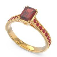 Pave Milgrain Emerald Cut Druna Garnet Ring with Ruby in 14k Yellow Gold