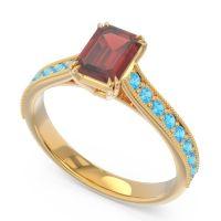 Pave Milgrain Emerald Cut Druna Garnet Ring with Swiss Blue Topaz in 14k Yellow Gold
