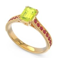 Pave Milgrain Emerald Cut Druna Peridot Ring with Ruby in 18k Yellow Gold