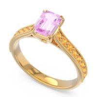 Pave Milgrain Emerald Cut Druna Pink Tourmaline Ring with Citrine in 18k Yellow Gold
