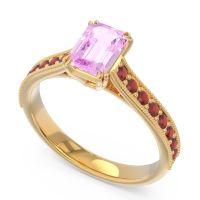 Pave Milgrain Emerald Cut Druna Pink Tourmaline Ring with Garnet in 18k Yellow Gold