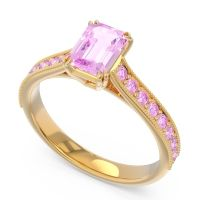 Pave Milgrain Emerald Cut Druna Pink Tourmaline Ring in 18k Yellow Gold
